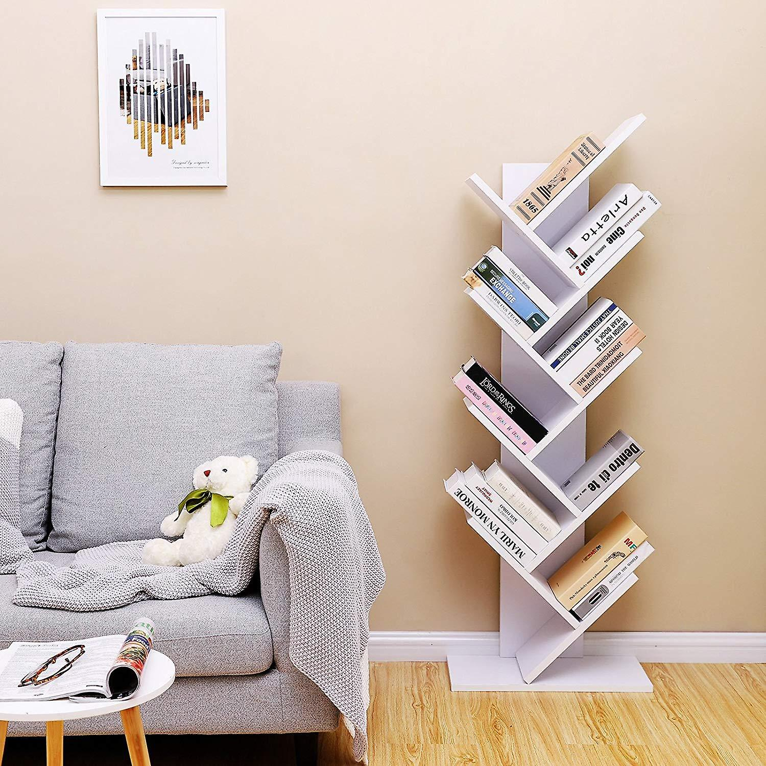 Tree shaped bookcase in white or rustic brown
