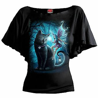 Spiral - cat and fairy - womens latin boat neck top