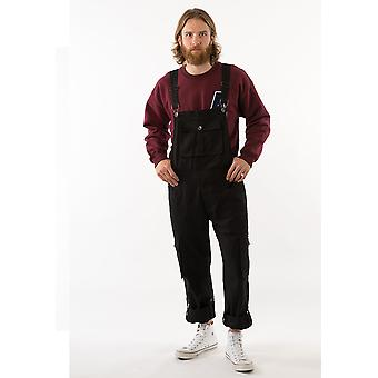 Bill mens black dungarees with roll up leg