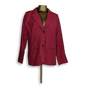 Isaac Mizrahi Live! Women's Blazer Herringbone Notch Collar Pink A237864