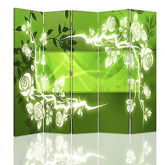 Room Divider, 5 Panels, Double-Sided, 360 ° Rotatable, Canvas, Roses - Abstraction