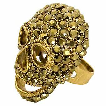Butler and Wilson Large Gold Skull Ring Adjustable fits all