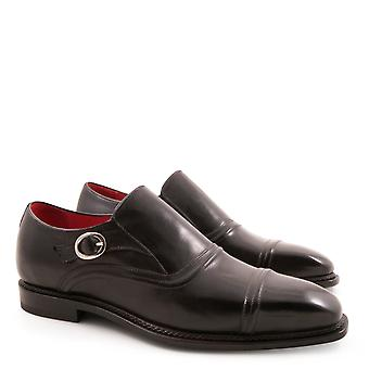 Handmade black leather monkstrap loafers for men