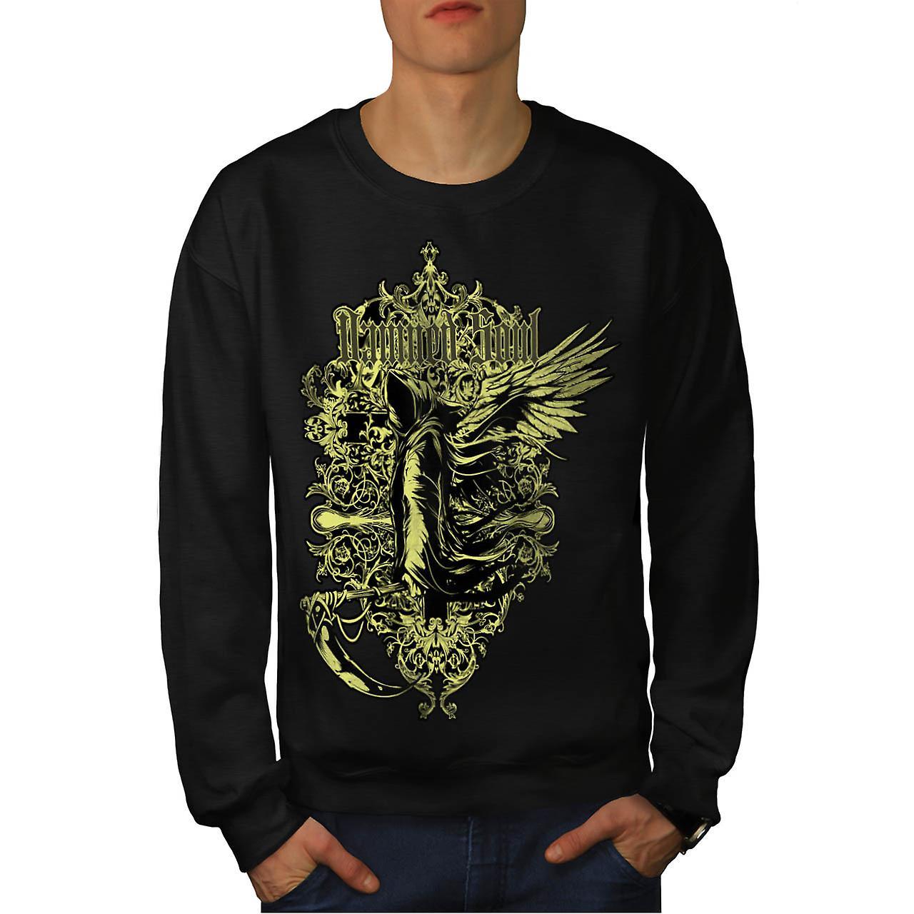 Damned Soul Death Axe Hell Angel Men Black Sweatshirt | Wellcoda
