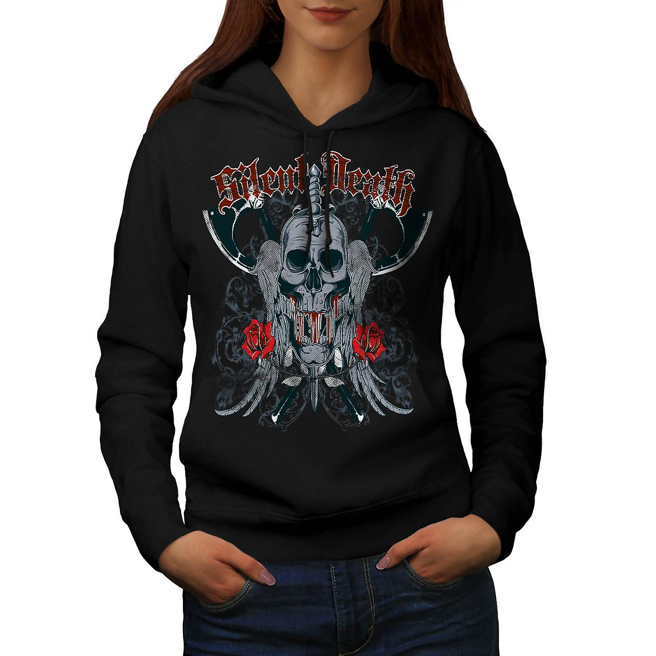 Silent Death Horror Skull Rage Women Black Hoodie | Wellcoda