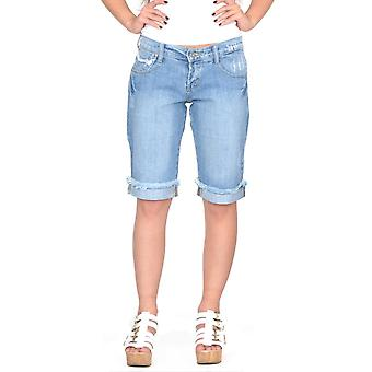 Lange verblasst Distressed Denim Shorts ausgefransten Enden