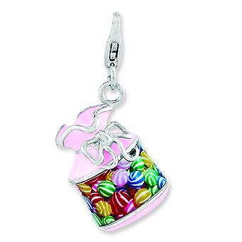 Sterling Silver Enameled 3-d Candy Jar With Lobster Clasp Charm - 5.1 Grams