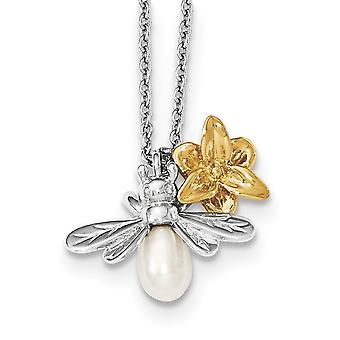 Sterling Silver White Ice Diamond Gold-plated Fwc Pearl con 2 pollici Ext collana - 0.10 dwt - 15 pollici