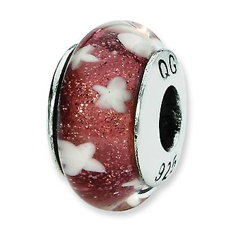 Sterling Silver Reflections Red White Stars Hand-blown Glass Bead Charm
