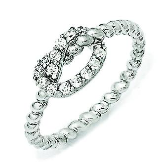 Sterling Silver CZ Knot Ring - Ring Size: 6 to 8