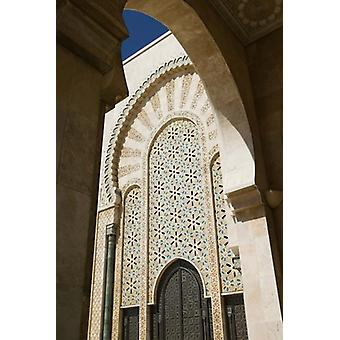 Archway detail Hassan II Mosque Casablance Morocco Poster Print by Walter Bibikow