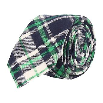 Andrews & co. narrow tie Club tie Plaid Navy Blue Green White