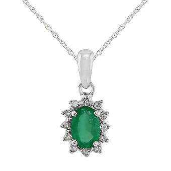 9ct White Gold 0.42ct Natural Emerald & Diamond Classic Cluster Pendant on Chain