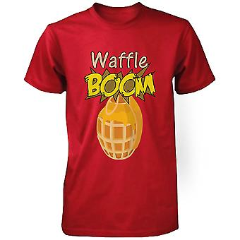 Grenade Waffle Boom Men's Graphic Shirt in Red Humorous Tee Funny Unisex Tshirt  Funny Shirt