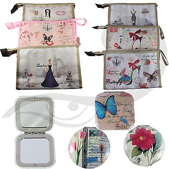 Royal Vintage Design Cosmetic Travel Make up Toiletry Wash Bag & Compact Mirror