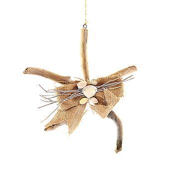 Drivtømmer formet søstjerner med skaller juleferien Ornament 11,5 Inches