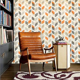 Retro 60s/70s Wallpaper Vintage Geometric Abstract Leaf Beige Grey Orange