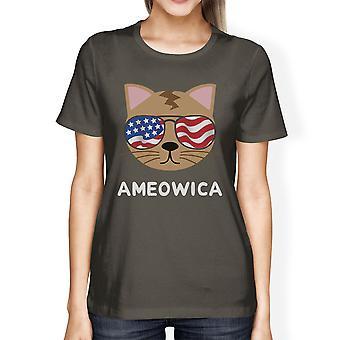 Ameowica Cute Womens Dark Grey Round Neck Tee Unique Design Top