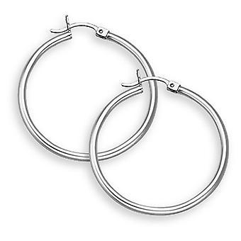 14K White Gold Hoop Earrings - 1