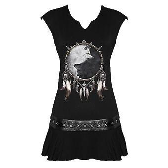 Spiral - WOLF CHI - Women's Stud Waist Mini Dress, Black