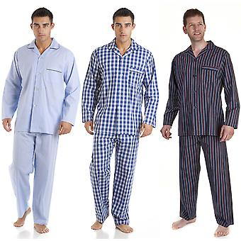 3 Pack Mens Haigman Checked Printed 100% Cotton Long Pyjama nightwear pajama