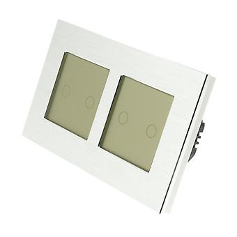 I LumoS Silver Brushed Aluminium Double Frame 4 Gang 1 Way WIFI/4G Remote & Dimmer Touch LED Light Switch Gold Insert