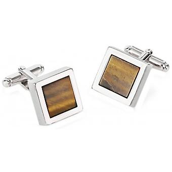 Duncan Walton Mensa Tiger Eye Rhodium Plated Chunky Square Cufflinks - Brown/Silver