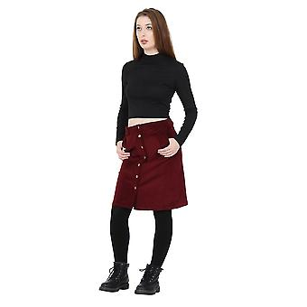 Button Front Corduroy Skirt knee-length ladies cord skirt with stretch
