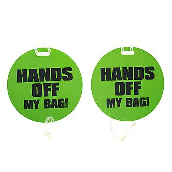 Pack of 2 Plastic Luggage Tags Humorous Funny 'Hands Off My Bag'