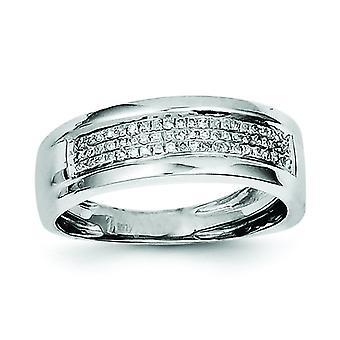 Sterlingsølv poleret Prong sæt åbne tilbage Rhodium-belagt Diamond damer Band Ring - ringstørrelse: 6-8