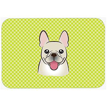 Checkerboard Lime Green French Bulldog Mouse Pad, Hot Pad or Trivet