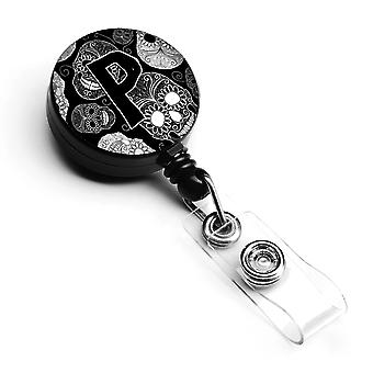 Letter P Day of the Dead Skulls Black Retractable Badge Reel
