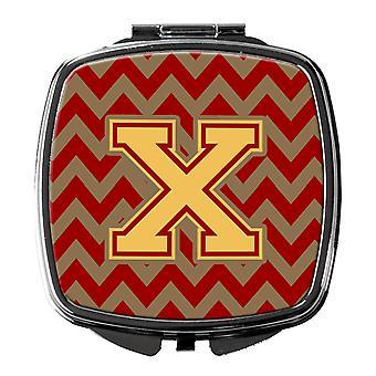 Letter X Chevron Garnet and Gold  Compact Mirror