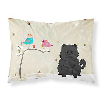 Christmas Presents between Friends Chow Chow Black Fabric Standard Pillowcase
