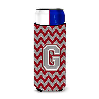 Letter G Chevron Crimson and Grey   Ultra Beverage Insulators for slim cans