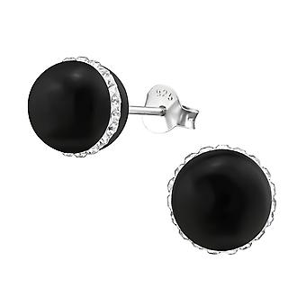 Round - 925 Sterling Silver + Plastic Crystal Ear Studs