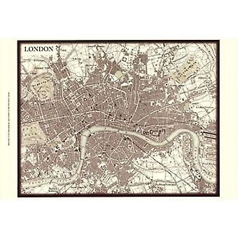 Sepia Map Of London Poster Print by Vision studio (19 x 13)