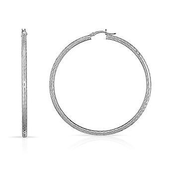 10k Fine White Gold Diamond Cut Hoop Earrings  (0.12