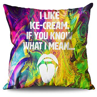 Ice Cream Saying Hot Linen Cushion Ice Cream Saying Hot | Wellcoda