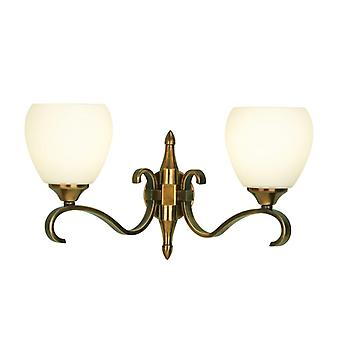 Twin lichte Columbia Brass Wall Light met opaal glas tinten - interieurs 1900 63454