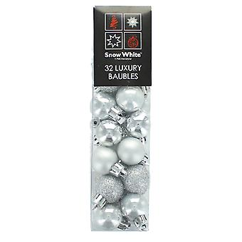 Snow White 32 Glitter, Matte & Shiny Baubles Tree Decorations - Silver