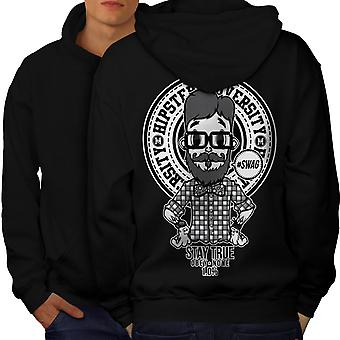 Hippie Swag Cool Men BlackHoodie Back | Wellcoda