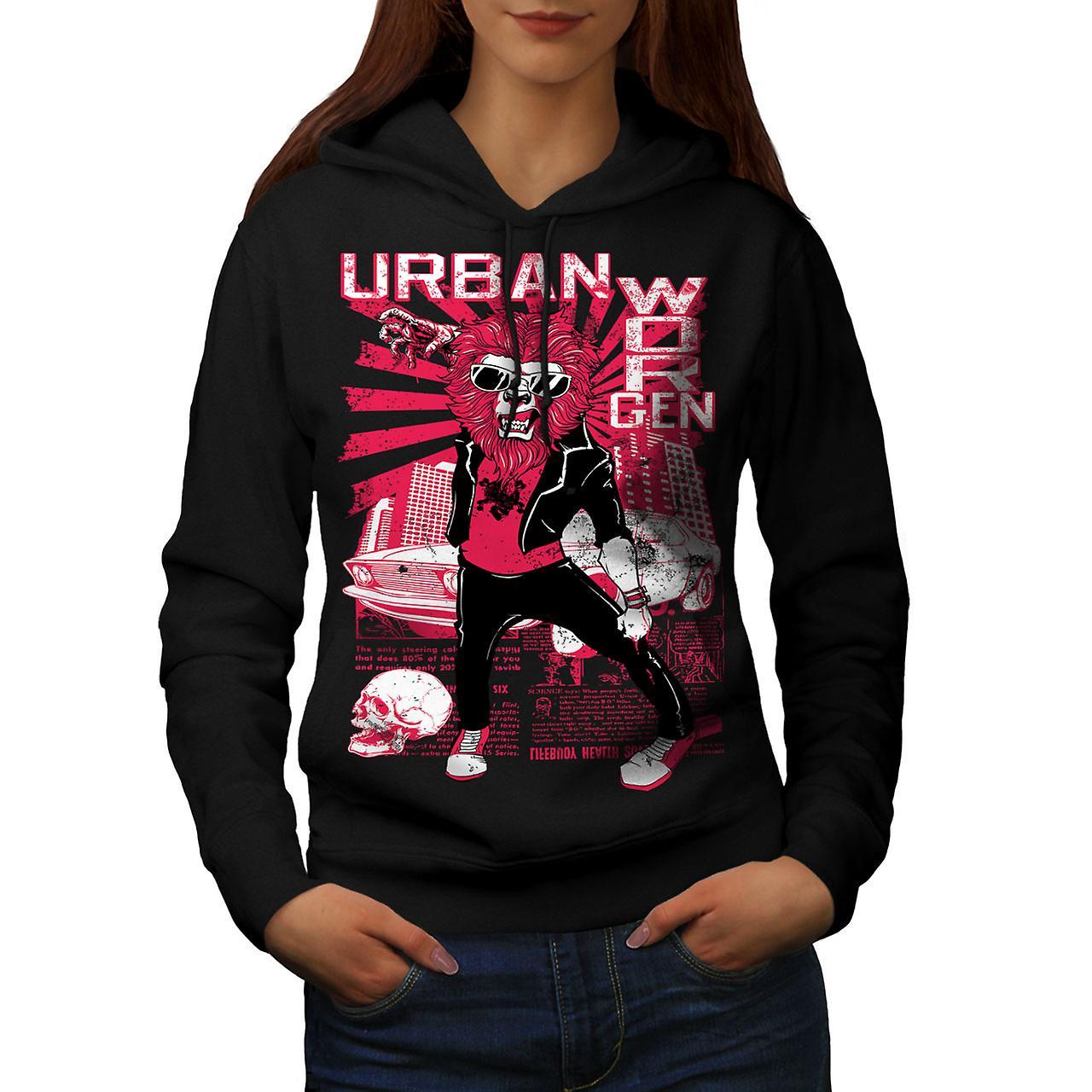Urban Worgen City Animal Women Black Hoodie   Wellcoda