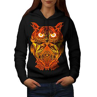 Night Owl On Fire Women BlackHoodie | Wellcoda