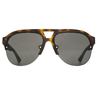 Gucci Sporty Half Rim Pilot Sunglasses In Havana