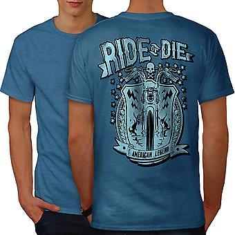 Ride America Die Biker Men Royal BlueT-shirt Back | Wellcoda