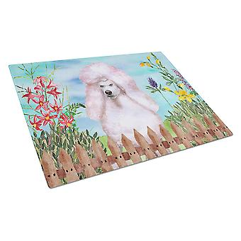 White Standard Poodle Spring Glass Cutting Board Large