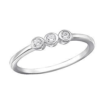 3 stenen - 925 Sterling Zilver Jewelled ringen