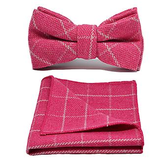 Fuschia Pink Birdseye Check Bow Tie & Pocket Square Set