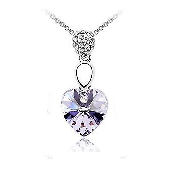 Womens Violet Gemstone Silver Chain Crystal Heart Necklace Pendant